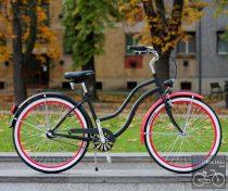 Egyedi Cruiser Női Kerékpár  1sp / 3 sp - Mattfekete - Pink