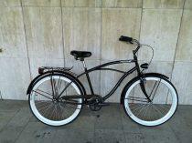 Toldi Cruiser - Férfi cruiser kerékpár - 1 sebességes - kontrás bicikli - Fényes fekete színben