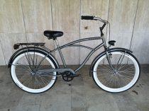 Toldi Cruiser - Férfi cruiser kerékpár - 1 sebességes - kontrás bicikli - Matt fekete színben