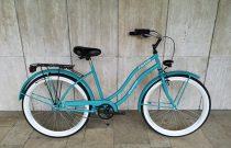 Toldi Cruiser - Női cruiser kerékpár - 1 sebességes - kontrás bicikli - Celeste színben