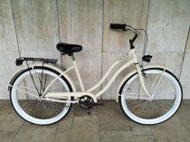Toldi Cruiser - Női cruiser kerékpár - 1 sebességes - kontrás bicikli - Krém színben