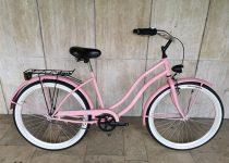 Toldi Cruiser - Női cruiser kerékpár - 1 sebességes - kontrás bicikli - Rózsaszín színben