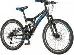 """Explorer Thunder 24"""" gyerek kerékpár - Összteleszkópos tárcsafékes MTB bicikli - Fekete"""