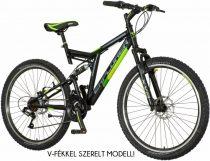 """Explorer Thunder 26"""" férfi kerékpár - Összteleszkópos V-fékes MTB bicikli - Fekete"""