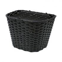 Első kosár kerékpárra - műanyag - fedeles - Fekete színben