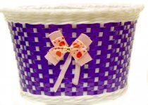 Gyermek műanyag kosár lila masnis 22X15X15 mm