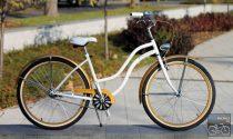 Egyedi Cruiser Női Kerékpár  1sp / 3 sp - Fehér - Arany