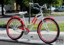 Egyedi Cruiser Női Kerékpár  1sp / 3 sp - Piros Pottyos