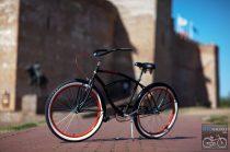 Egyedi Stray Cat Férfi Cruiser Kerékpár - 1sp / 3sp Matt fekete - piros felnivel