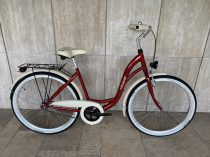 """Toldi női városi kerékpár - 1 sebességes kontrás - 26"""" - Bordó színben"""