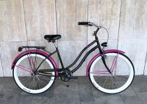 Toldi Cruiser - Női cruiser kerékpár - 3 sebességes agyváltós - kontrás bicikli - Fekete-pink színben
