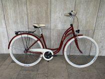 """Toldi Premium női városi kerékpár - 6 sebességes láncváltós - 26"""" - Bordó színben"""