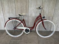 """Toldi Premium női városi kerékpár - 6 sebességes láncváltós - 28"""" - Bordó színben"""