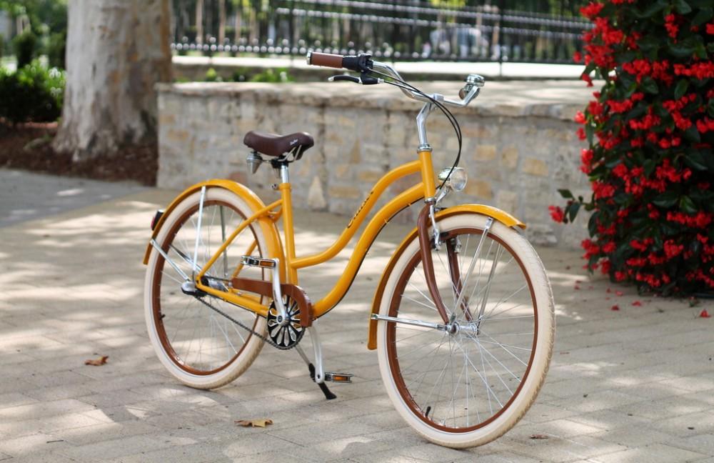 Egyedi Cruiser Női Kerékpár 1 / 3 / 7 sebességes - Borostyán sárga - Barna