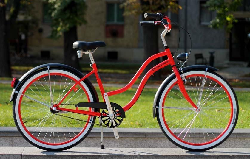 Egyedi Cruiser Női Kerékpár 1sp / 3 sp - Piros - Fekete