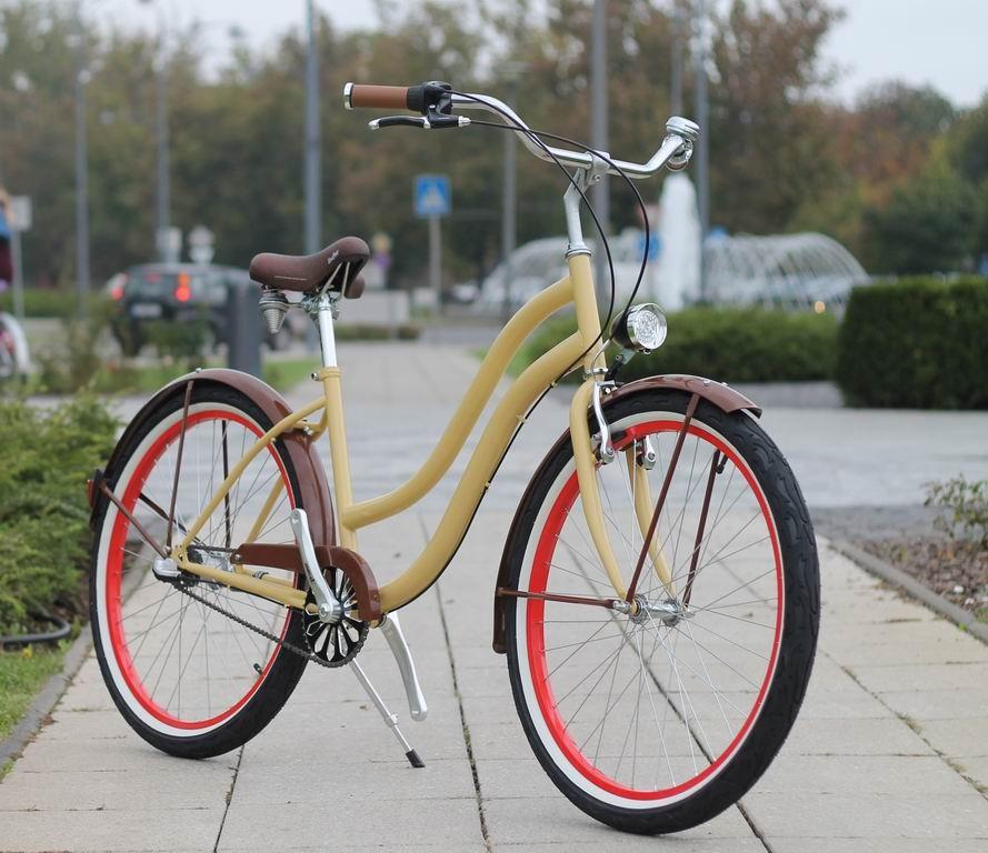 Egyedi Cruiser Női Kerékpár 1sp / 3 sp - Krém - Barna - Piros