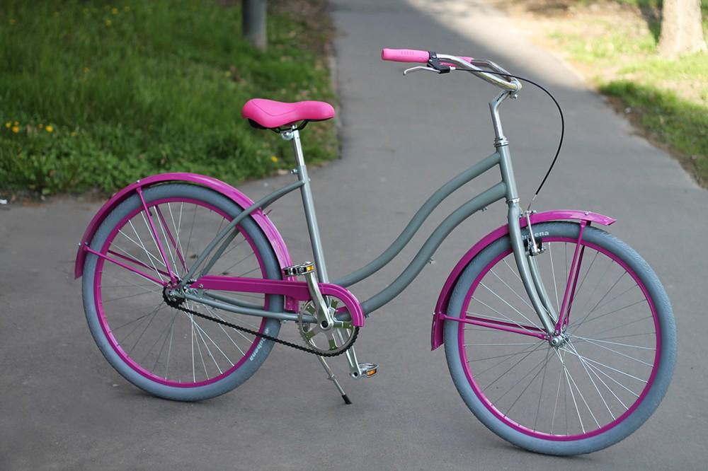 Egyedi Cruiser Női Kerékpár 1 / 3 / 7 sebességes - Cink metál - Pink