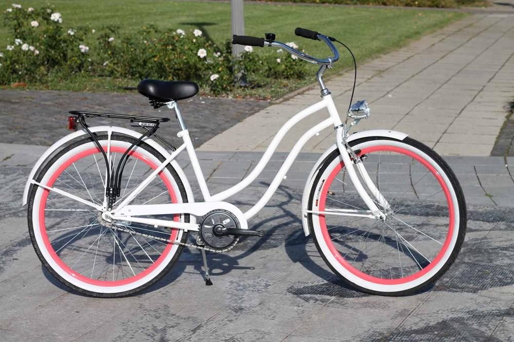 Egyedi Cruiser Női Kerékpár 1 / 3 / 7 sebességes - Fehér-Flamingo