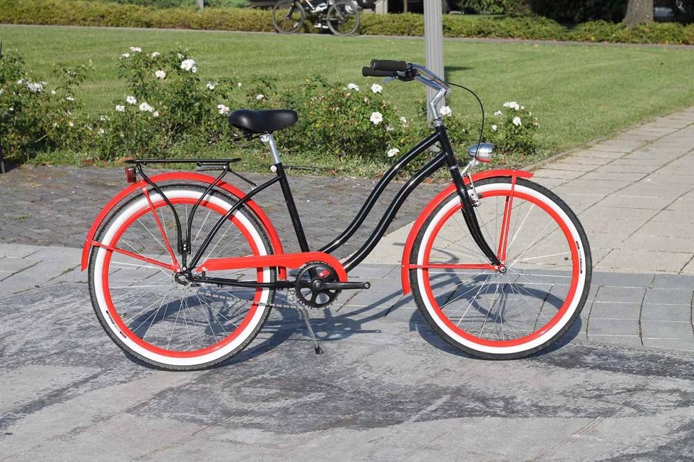 Egyedi Cruiser Női Kerékpár 1 / 3 / 7 sebességes - Fekete - Piros