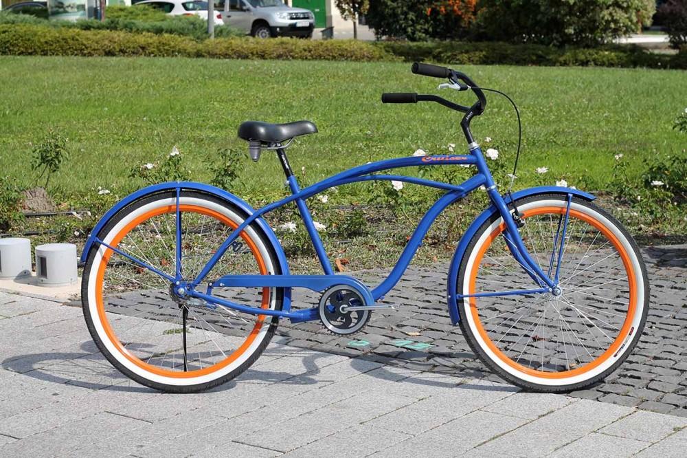 Egyedi Férfi Cruiser Kerékpár - 1 / 3 / 7 sebességes - Kék-Narancs