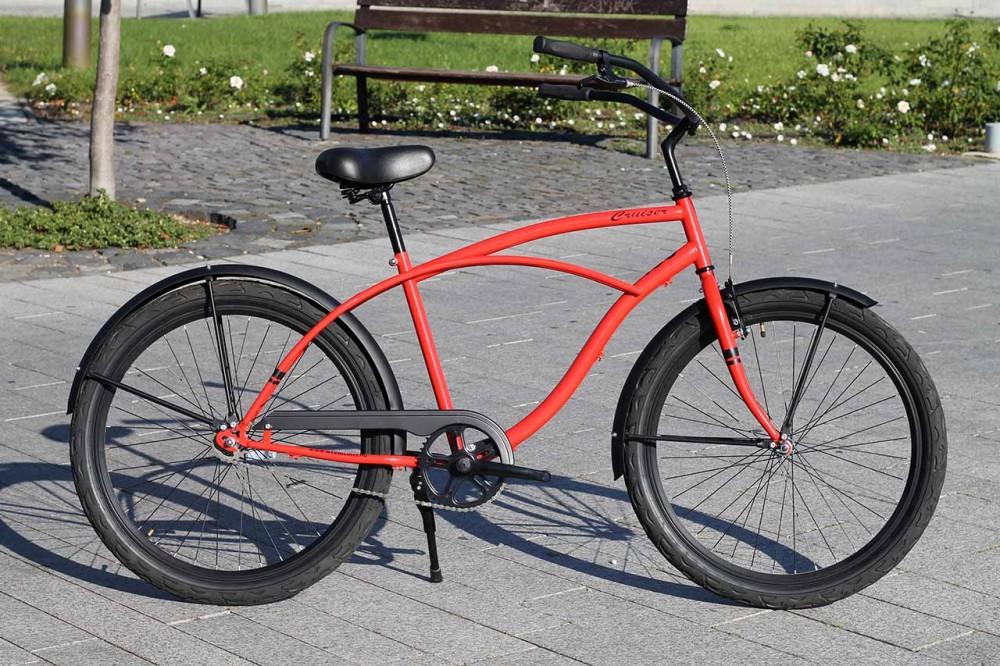 Egyedi Stray Cat Férfi Cruiser Kerékpár - 1 / 3 / 7 sebességes - Piros