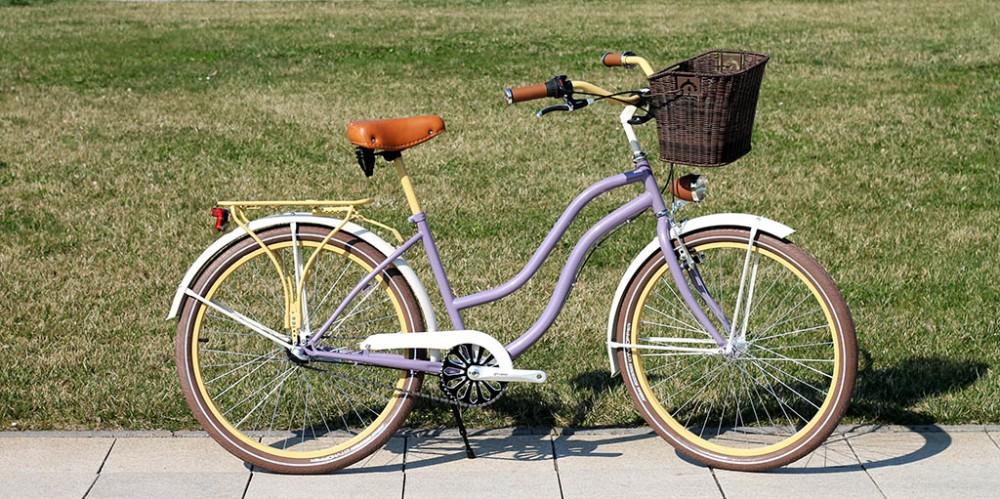 Egyedi Cruiser Női Kerékpár 1 / 3 / 7 sebességes - Lila-sárga