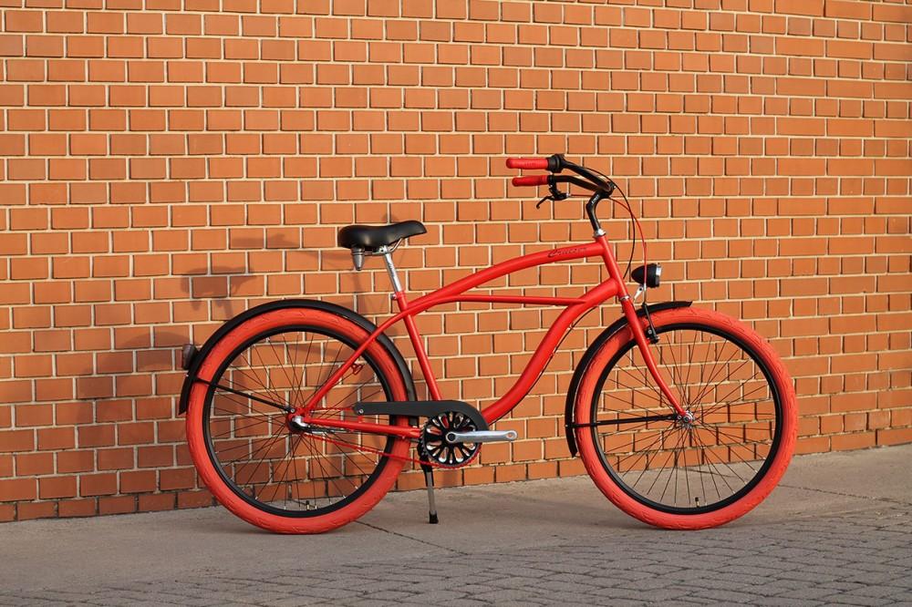 Egyedi Férfi Cruiser Kerékpár - 1sp / 3sp - Piros - Fekete