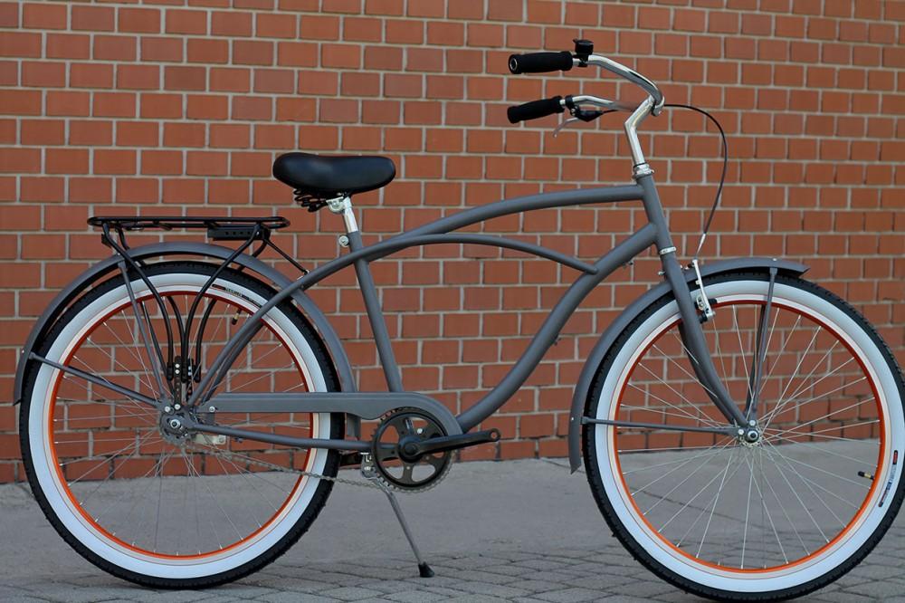 Egyedi Férfi Cruiser Kerékpár - 1 / 3 / 7 sebességes - Szürke - Narancs
