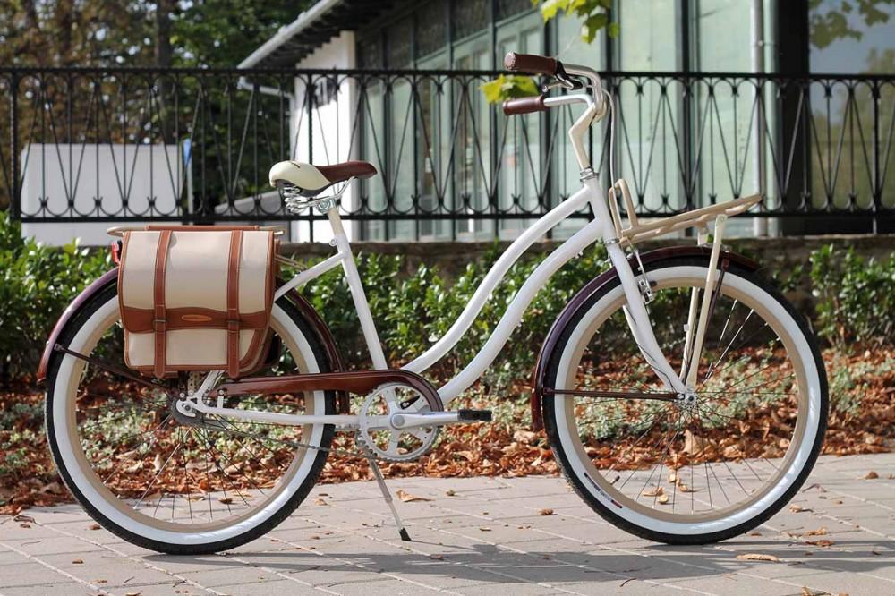 Egyedi Cruiser Női Kerékpár 1sp / 3 sp - Fehér - Barna