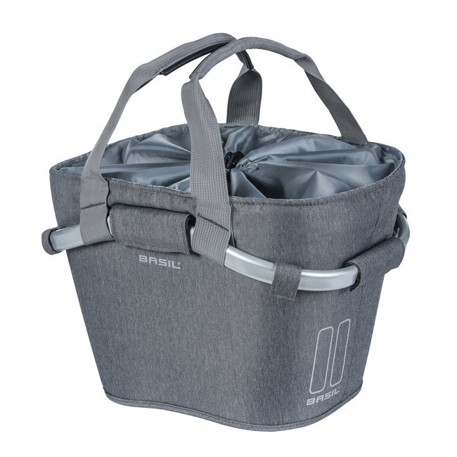 Basil első kosár - Classic Carry All Front Basket - KF kompatibilis - kormányadapter nélkül - szürke színben