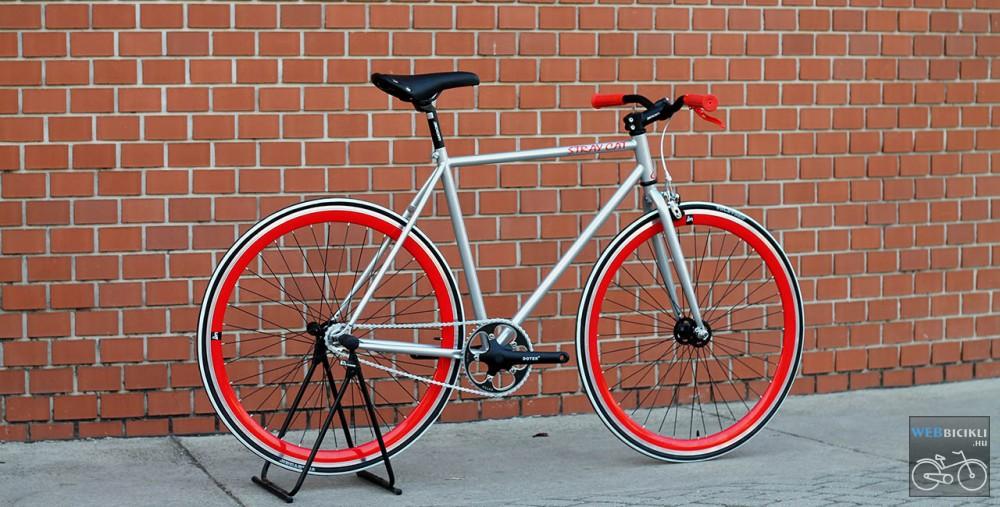 Fixi kerékpár - Egyedi - Férfi - Csillám ezüst / piros