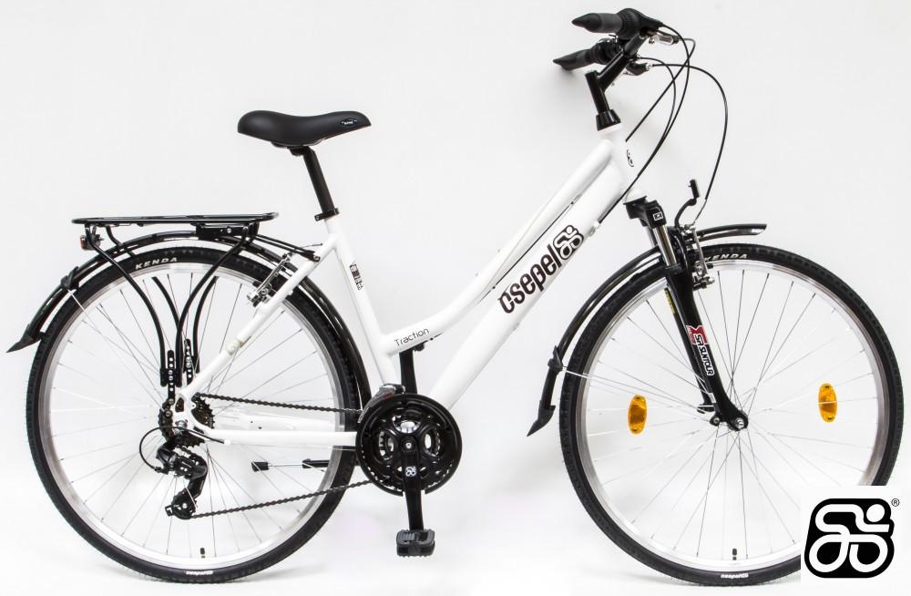"""Csepel Traction 100 női trekking kerékpár - 21sebességes - Matt fehér - 17"""" vázzal"""