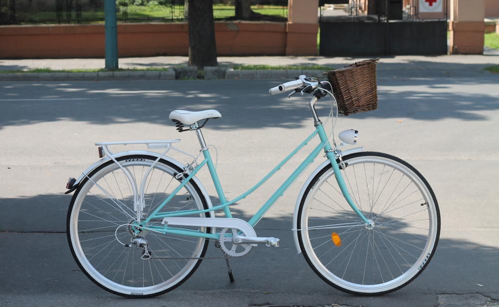 """Mademoiselle női kerékpár 28"""" - 300 féle színben - 7 sebességes - Most ajándék fonott kosárral & defektgátló folyadékkal - Türkiz színben"""