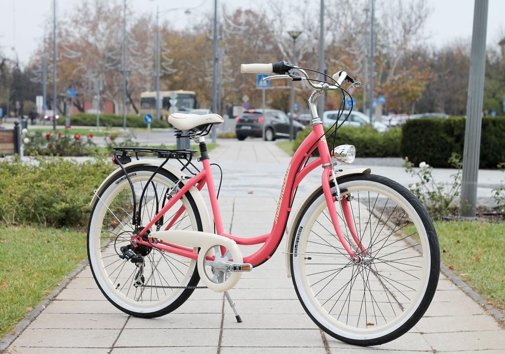 """Mademoiselle női kerékpár 26"""" - 300 féle színben - 7 sebességes - Most ajándék defektgátló folyadékkal - Eper színben"""