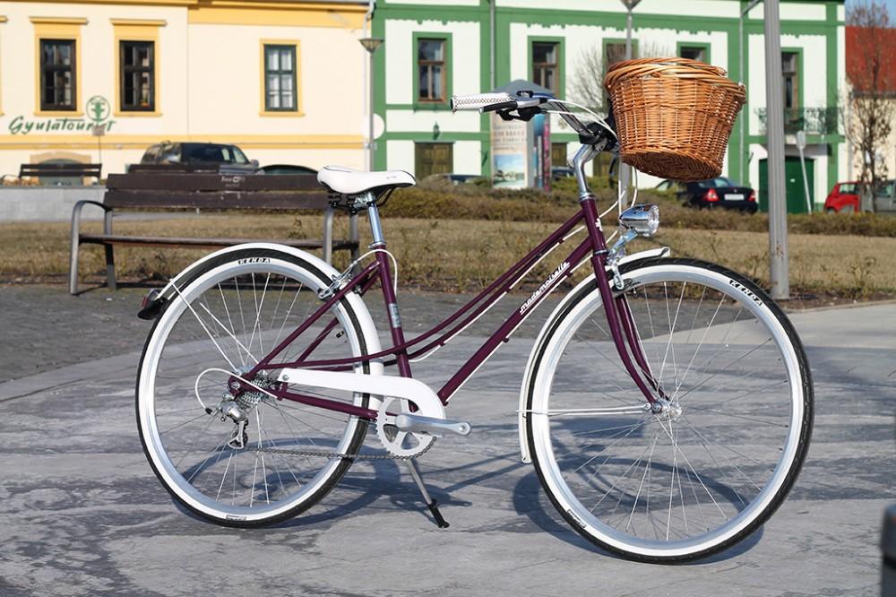 """Mademoiselle női kerékpár 28"""" - 300 féle színben - 7 sebességes - Most ajándék fonott kosárral & defektgátló folyadékkal - Padlizsán lila színben"""