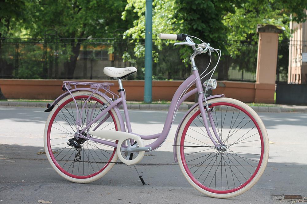 """Mademoiselle női kerékpár 28"""" - 300 féle színben - 7 sebességes - Most ajándék defektgátló folyadékkal -Lila színben"""