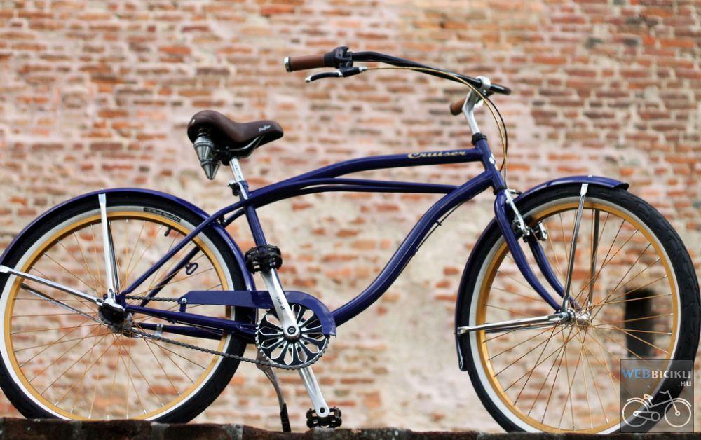 Egyedi Stray Cat Férfi Cruiser Kerékpár - 1 / 3 / 7 sebességes - Kék-Arany